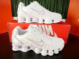 Nike Shox TL White Metallic Silver Mens Running Shoes AV3595
