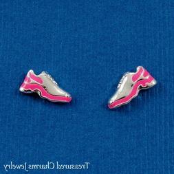 Silver and Neon Pink Running Shoe Post Stud Earrings - Runne