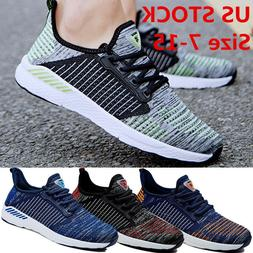 Size 7-15 Mens Flyknit Breathable Fitness Running Shoes Athl