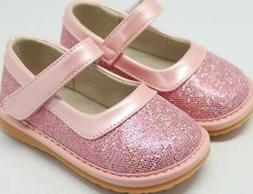 Sparkle Pink Leather Squeaky Shoes  Toddler size 3-10