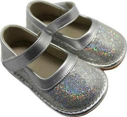 Sparkle Silver Leather Squeaky Shoes  Toddler size 3-10