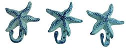 Starfish Cast Iron Wall Hooks Antique Blue - Set of 3 for Co