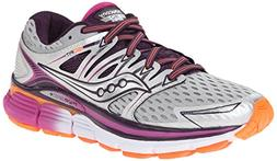 Saucony Women's Triumph ISO Running Shoe, Silver/Purple/Oran