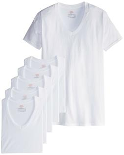 Hanes Ultimate Men's 6-Pack Best V-Neck T-Shirt, White, Medi