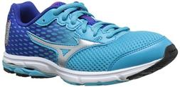 Mizuno Wave Rider 18 Junior Kids Running Shoe , Blue Atoll/S