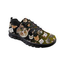 Women Fashion Sneakers Galaxy Cat Print Running Shoes For La