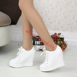 Women Lace Ups Sport Sneakers Shoe Hidden Wedges High Heels