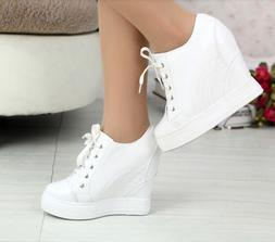 Womens Hidden Wedge Heel Lace Up Lace Up Sksteboard Tennis S