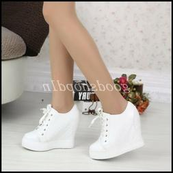Womens Lather Lace Up Sport Sneakers 12cm Hidden Wedges High